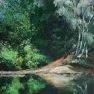 Matin calme à l'étang Rompu [Acrylique sur toile - 60 x 40]