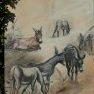 Les ânes [Fusain et acrylique sur toile]