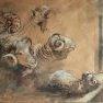 Béliers mérinos [Fusain et acrylique sur papier]