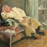 La sieste en djellaba [Etude - 54 x 65]